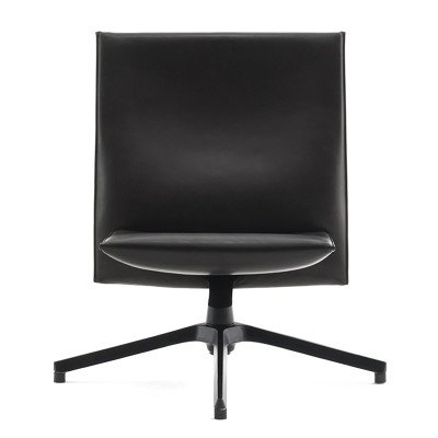 Pilot Chair - Low Back Lucca Black LCBLCK, Soft Version, With Upholstered Arms, Bright Base