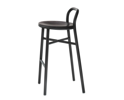Pipe Barstool Black, Dark Beech, High, Indoor