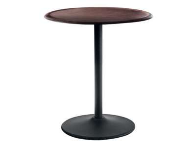 Pipe Table - Round Black, Dark Beech