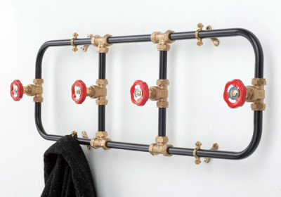 Pipework Coat Rack Black with Red Hooks