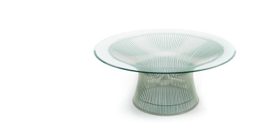 Platner Coffee Table Polished Nickel, 91.5cm, Clear Glass