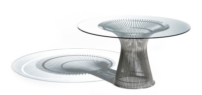 Platner Large Round Dining Table Polished Nickel, 91.5cm, Clear Glass