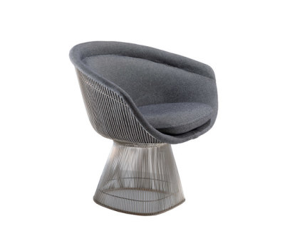 Platner Lounge chair Polished Nickel Frame, Knoll Velvet K78448 fabric