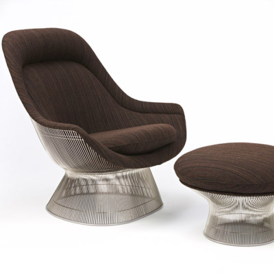 Platner Ottoman Ultrasuede Pebble K102125, 18k gold plated