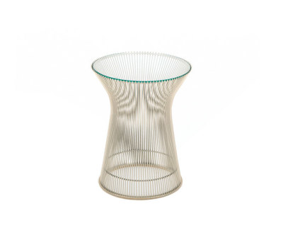 Platner Side Table Polished Nickel, Marble Verde Alpi