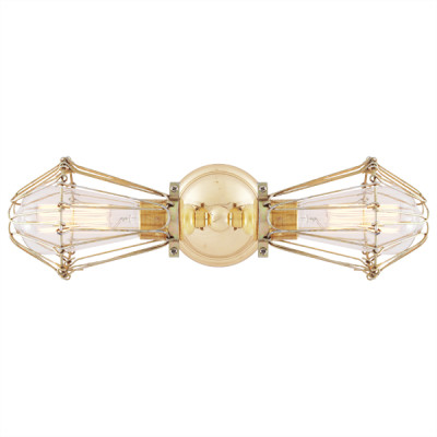 Praia Vintage Double Cage Wall Light Polished Brass & Gold Cage