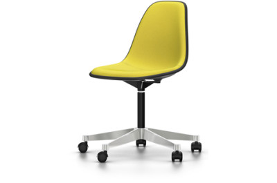 PSCC Eames Plastic Side Chair With Full Upholstery 01 basic dark, 01 basic dark, 02 castors hard - braked for carpet, Hopsak 71 yellow/pastel green
