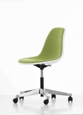 PSCC Eames Plastic Side Chair With Full Upholstery 04 white, 01 basic dark, 02 castors hard - braked for carpet, Hopsak 69 grass-green/ivory