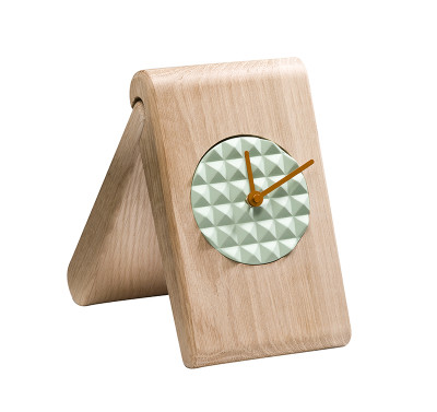 Pyramid Clock NATUAL OAK/MINT