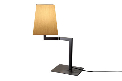 Quadra Desk Table Lamp Chrome, White linen