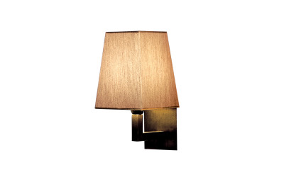 Quadra Mini Wall Light Satin Bronze, Coto White