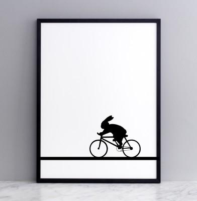 Racing Bike Rabbit Screen Print Small