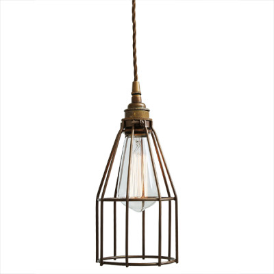 Raze Cage Pendant Light Bronze Cage with Antique Brass Lampholder