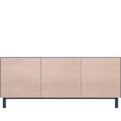 Rectangular Cabinet 3 Doors Oak, Petrol Blue