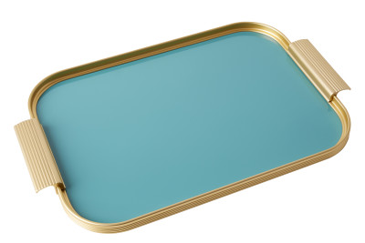 Ribbed Tray Gold and Turquoise, 16 Inch