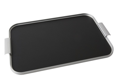 Ribbed Tray Silver and Black, 22 inch