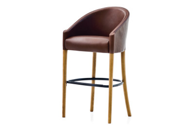 Rich Bar Stool B0211 - Leather Oil cirè, Dark Stained Beech Feet