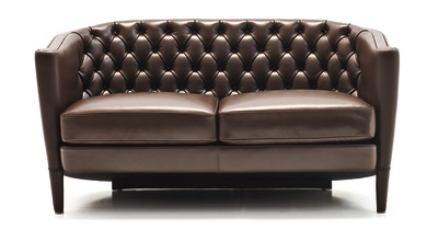 Rich Capitoné 2 Seater Sofa A4500 - Art.48045 - 206 beige, Matt Black Beech Feet