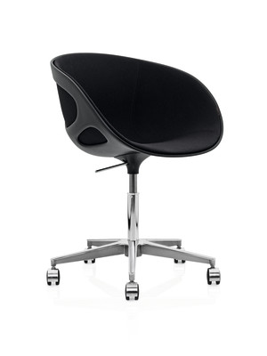 Rin Chair with Castors - fixed front upholstery Divina 3 191, Hard wheels for soft floor without breaks, Plastic White