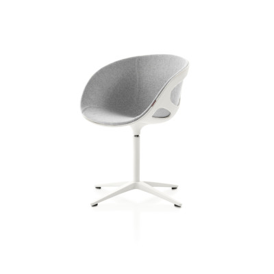 Rin Fixed Front Upholstery Chair Divina 3 984, Polished aluminium, Plastic Black