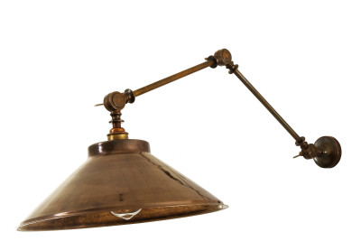 Rio Adjustable Industrial Wall Light Antique Brass
