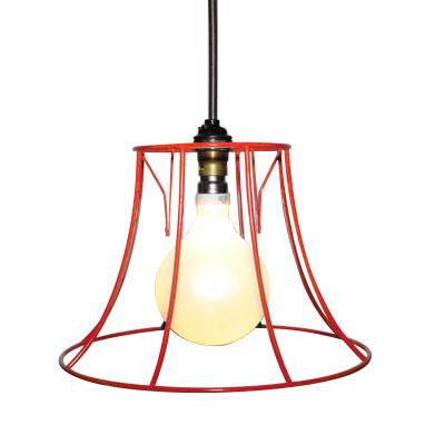 """Round Skeleton Lampshade 10"""", Red"""