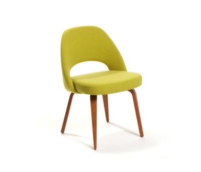 Saarinen Conference Chair 93H x 66.5W x 64D h 59SH cm Knoll Felt fabric K12073 Apple with oak stained walnut legs