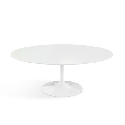 Saarinen Oval Coffee Table White Base, Laminate White Top