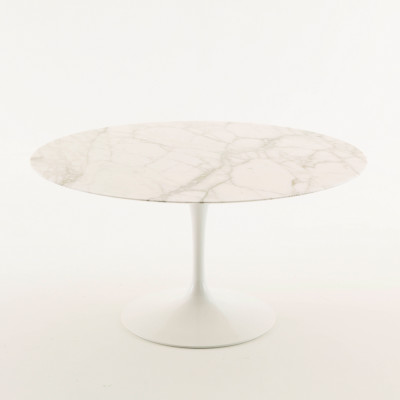 Saarinen Round Dining Table 152cm, White Rilsan Base, Laminate White