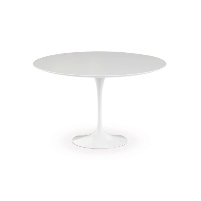 Saarinen Round Dining Table 91cm, Black Rilsan Base, Marble Verde Alpi Satin Finish