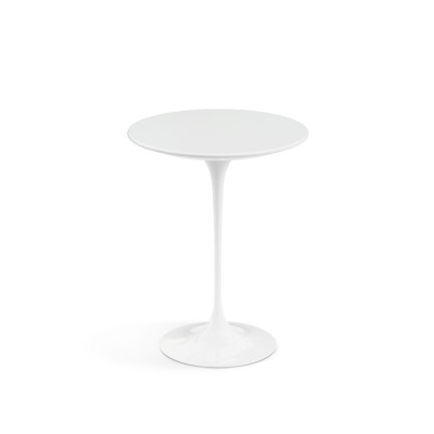 Saarinen Round Side Table Black Base, Satin Green Marble Top, Ø41cm