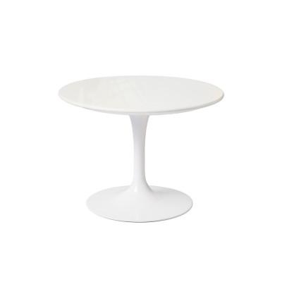 Saarinen Round Side Table - Outdoor Black Base, White Top
