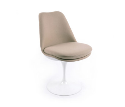 Saarinen Tulip Side chair White Shell & Base - Tonus 130 Fabric Swivel, Upholstered inner shell and seat cushion