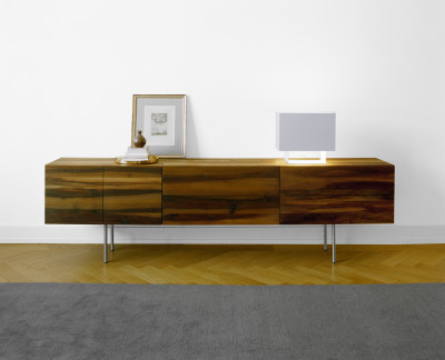 SB07 Shahnaz Wallmounted Sideboard Walnut, Long