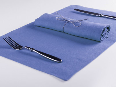 Serenity blue table linens 6 placemats 32x47cm