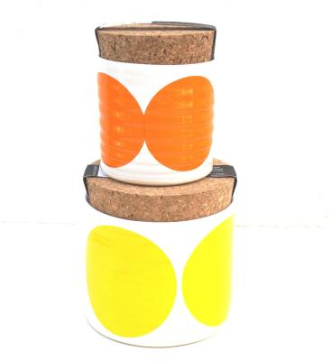 Set of 2 Pots Yellow, Orange