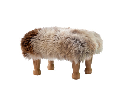 Sheepskin Footstool  Rare Breed, Dark oak