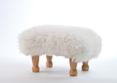 Sheepskin Footstool  White, Natural Legs
