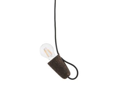 Sininho Pendant Light Dark Cork Black wire