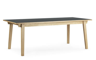 Slice Dining Table Linoleum Burgundy Top, 90 x 300