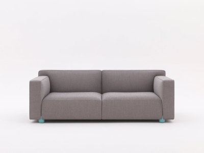 2 - seater Compact Sofa by Edward Barber & Jay Osgerby Sofa - 63.5H x 164W x 86D Hopsack Fabric K120614 Silver, Chrome Legs