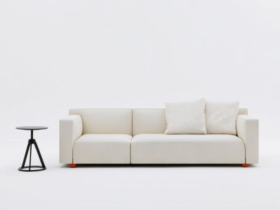2 - seater Compact Sofa by Edward Barber & Jay Osgerby Sofa - 63.5H x 164W x 86D West White 01WE fabric, Red Feet