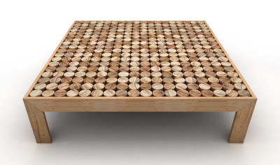 Sofia Coffee Table Wood Feet, Large