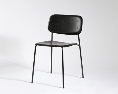 Soft Edge Dining Chair with Metal Frame Grey Frame, Matt Lacquer Oak Seat