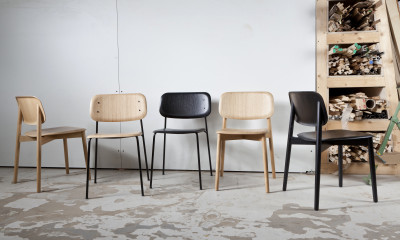 Soft Edge Dining Chair with Metal Frame Soft Black Frame, Soft Black Stained Oak Seat