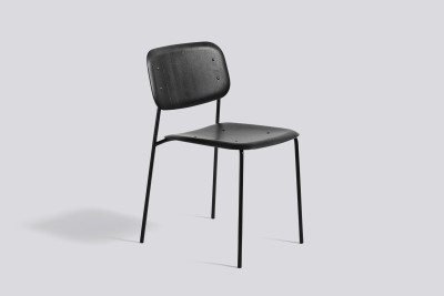 Soft Edge Dining Chair with Metal Frame Black Frame, Black Seat