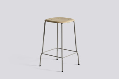 Soft Edge Bar Stool with Metal Frame and Footrest Soft Grey Seat, Soft Grey Base, High