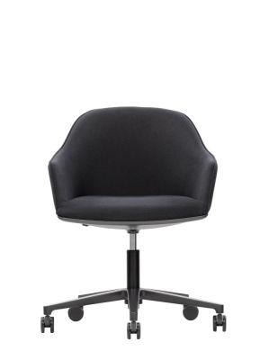 Softshell Chair Five Star Base Leather Premium 72 snow, polished aluminium, 02 castors hard braked for carpet