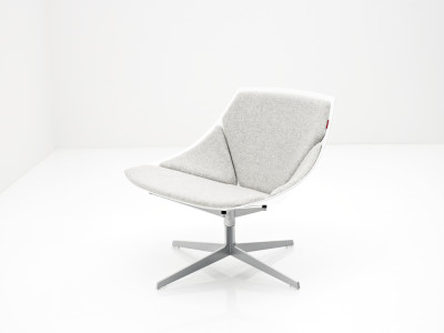 Space Lounge Chair White, Divina 3 984, with swivel
