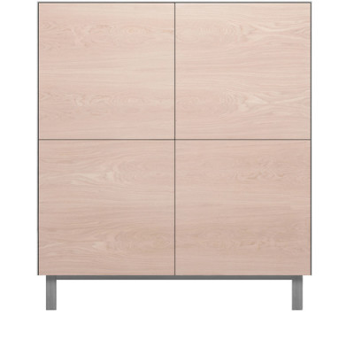 Square Cabinet 4 Doors Oak, Light Grey